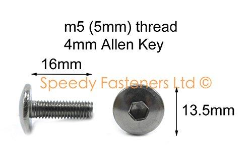 Preisvergleich Produktbild 10 Stück M5 5 mm x 16 mm Motorrad Verkleidung Schrauben – Edelstahl Pfanne Button Head (13, 5 mm) Schrauben von Speedy gurthalteband