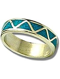 Indianerschmuck Sterling Silber Ring Chip Inlay Türkis Weddingring