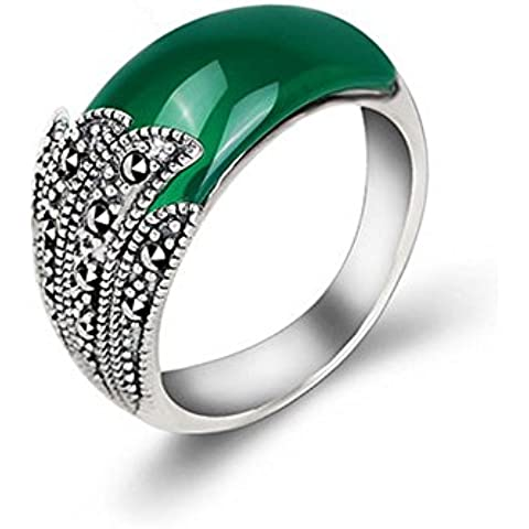 Ángel de Jade tailandés de la vendimia de la plata de ley con reactancia verde Onyx anillo