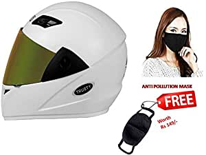 JMD Helmets Trusty Full Face Helmet with Mirror Visor (White, L)