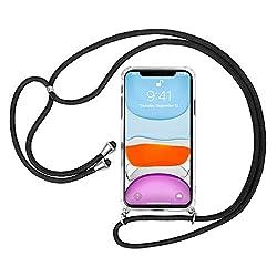 laxikoo Handykette Handyhülle für iPhone 11 Hülle mit Kordel zum Umhängen Necklace Hülle Transparent Silikon Schutzhülle mit Band Schnur mit Case zum umhängen Handykette für iPhone 11 6.1'' - Schwarz