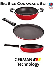 SJEWARE Big Non Stick Cookware Set Combo Fry Pan Non Stick Tawa Non Stick Kadai Non Stick Cooking Set Gas Stove NO Induction