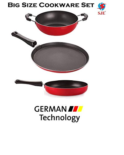 SJEWARE Big Non Stick Cookware Set Combo Fry Pan Non Stick Tawa Non Stick Kadai Non Stick Cooking Set Gas Stove NO Induction