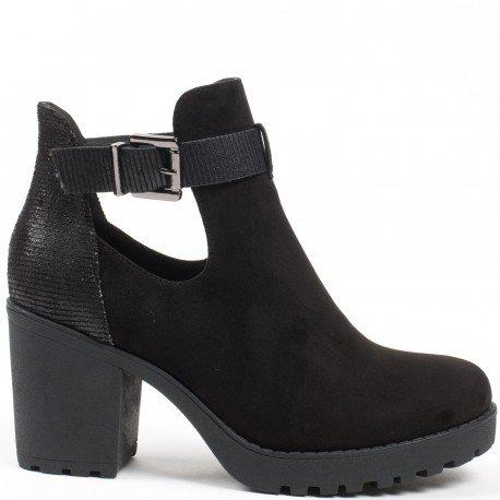 Ideal Shoes - Bottines ajourées bi-matière avec talon épais et semelle crantée Mickaella Noir