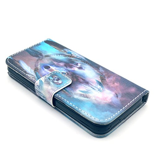 Coque pour Apple iphone SE 5 5S,Housse en cuir pour Apple iphone SE 5 5S,Ecoway Colorful imprimé étui en cuir PU Cuir Flip Magnétique Portefeuille Etui Housse de Protection Coque Étui Case Cover avec  A-5