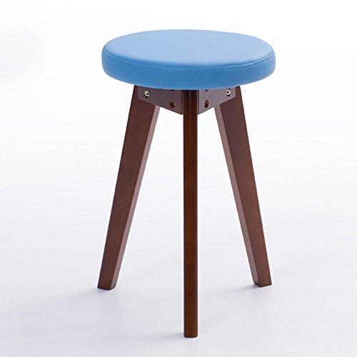 Stühle MEIDUO Haltbare Hocker Haushaltswaren Rubberwood Round Hocker PVC-Kissen Dressing Hocker in 5 Farben für den Innenbereich im Freien (Farbe : Blau, größe : B) (Blau Frühstück Kissen)