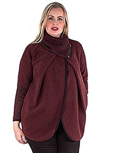 Friendz Trendz-Womens italiano Cappotto in lana con maniche lunghe e maniche lunghe in lana con cappuccio Wine