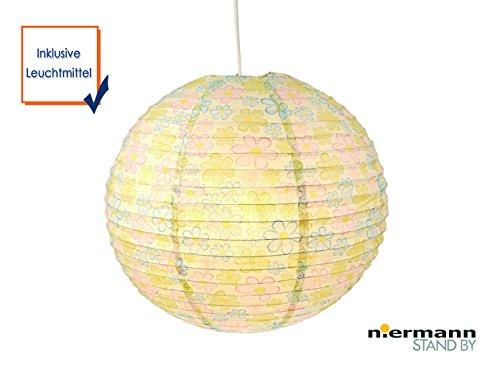 Papierlampe fürs Kinderzimmer mit LED - Lampenschirm BLUMEN Motiv - Pendelleuchte mit Aufhängung