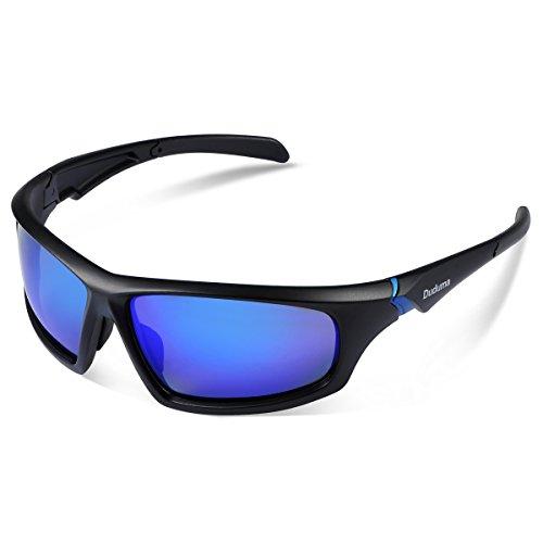 Duduma Polarisierter Sport Herren Sonnenbrille für Ski Fahren Golf Laufen Radsport mit Mode-Design Voll Rimmed Herren Sonnenbrillen und Frauen Sonnenbrille Tr80821 Superleichtes Rahmen (639 Schwarz Matt Rahmen mit Blau Linse)