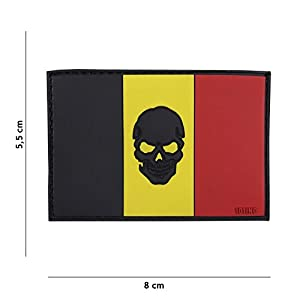 Patch 3D PVC Drapeau Skull Belgique / Cosplay / Airsoft / Camouflage