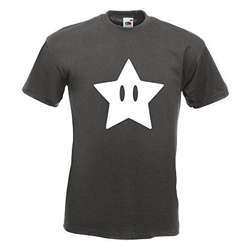 KIWISTAR - Super Star Stern T-Shirt in 15 verschiedenen Farben - Herren Funshirt bedruckt Design Sprüche Spruch Motive Oberteil Baumwolle Print Größe S M L XL XXL Graphit