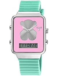 Reloj Tous digital I-Bear de acero con correa de silicona verde y bolso verano Tous de regalo