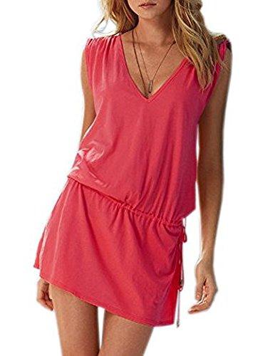 Robe d'été de robe de plage moonar profond col V en coton pour femmes taille Rose