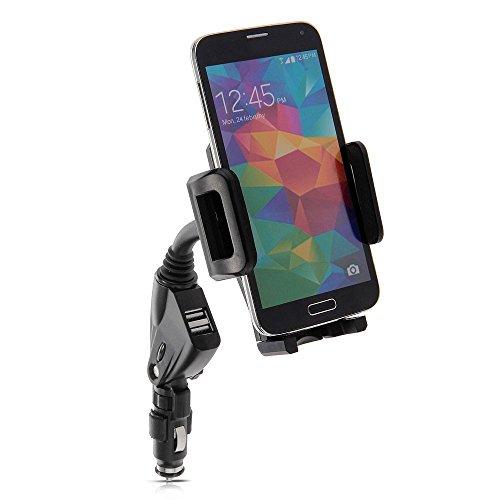 2 in 1 - Dual USB Auto-Ladegerät + KFZ Auto Phone Halter für LG G Flex & Pro 2 & Pro Lite & LG Optimus G Pro & G Vista & Leon & Spirit & Magna & G Flex 2 & Transpyre & TRIBUTE & F60 Smartphone