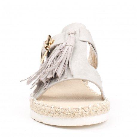 Ideal Shoes - Mules effet daime avec franges et ceinturon Lanais Gris