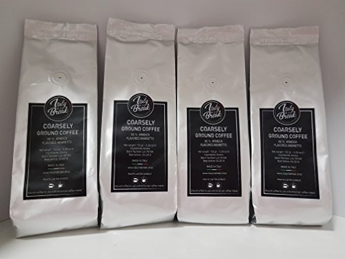 Amaretto Flavoured Ground Coffee – a Gift for Christmas – 600 gr.- Premium Quality Coffee with The Flavor of Amaretto – 80% Arabica Made in Italy (Pack of 4)