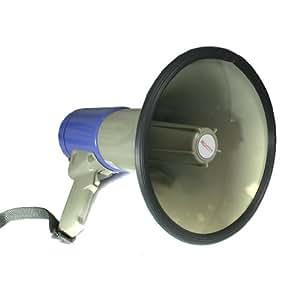 auna Mégaphone professionnel (pour événements sportifs, manifestations, fêtes, cinéma, puissance 60W, portée 1000m, fonction sirène, protection anti-pluie) - bleu