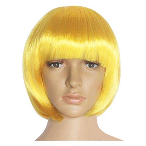 Hkfv speciale creative design capelli finti per feste night halloween anime fashion corti parrucca cosplay party dritto parrucca molti colori qui, yellow gold, 35cm/13.80