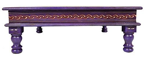 Etnico-Dipinto-a-mano-motivo-floreale-in-legno-puja-Chowki-tavolo-viola-Chowki-46-x-46-x-15-cm