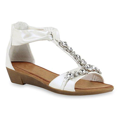 Damen Sandaletten Brautschuhe Hochzeitsschuhe Riemchen Sandalen Keilabsatz Keilsandaletten Wedges Hochzeit Schuhe 141132 Weiss Braun 39 Flandell