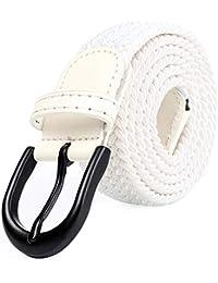 ef38cedcd2d1 Mile High Life Cinturón elástico trenzado elástico con pasador ovalado  Hebilla completa de cuero negro con hombre…