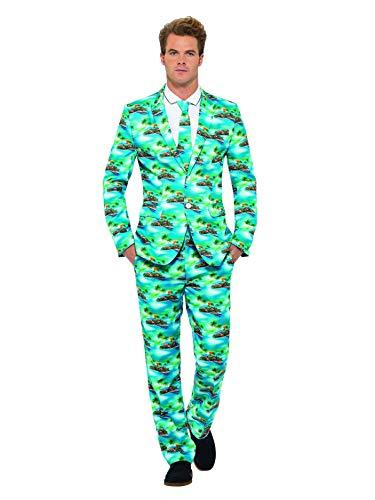 Lieder Kostüm Über - Smiffys, Herren Aloha! Anzug Kostüm, Jacke, Hose und Krawatte, Größe: XL, 40083