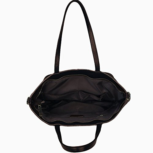 Damero Cuoio molle delle donne Tote Bag / borsa con tracolla, nero nero