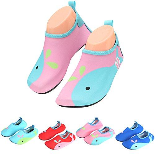 katliu Badeschuhe Wasserschuhe Strandschuhe Mädchen Jungen Schwimmschuhe Barfußschuhe Surfschuhe Kinder Baby Aqua Schuhe,Pink 32