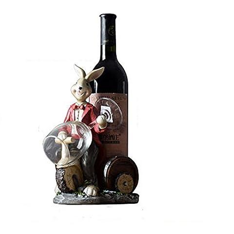 Kaninchen-Weinregal, europäisch-Art Wohnzimmer-Wein-Flaschen-Zahnstangen-Wein-Getränkehalter, Stab-Tabellen-Dekorations-Handwerk, kreativer Geburtstag Weihnachtsgeschenke ( Color : Red )
