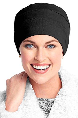 Damen Schlafkappe, Baumwolle, drei Ziernähte, bei Haarverlust durch Krebs - Schwarz (Headcover Turban)