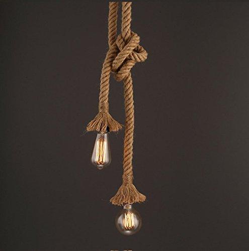 Luz colgante industrial, STARRYOL cuerda doble de cabeza de cáñamo Iluminación colgante para comedor, sala, restaurante, bar, cafetería - longitud 60cm