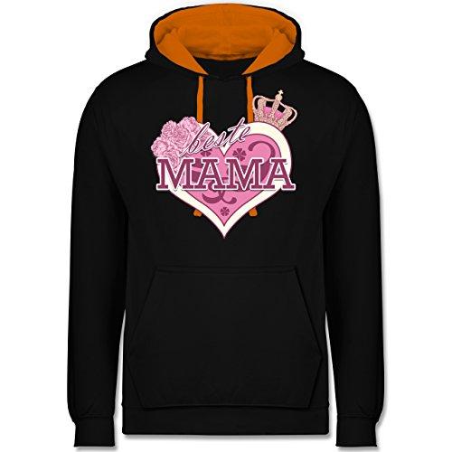 Muttertag - Beste Mama - Kontrast Hoodie Schwarz/Orange
