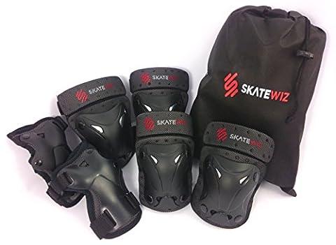 SKATEWIZ Protect-1 Schonerset Protektoren Set Schützer schwarz für Inliner und Ice Skating Skateboard BMX Unisex für Kinder 3-7 Jahre Größe XS