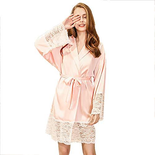 YMYJZ para Mujer Bata De Satén De Seda-Damas Albornoz, Princesa del Diseño del Estilo del Kimono De La Dama De Honor del Traje De Fiesta De La Boda Largo, Rosa,L