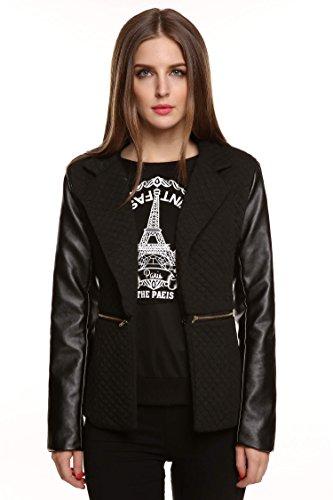Meaneor Damen Jacke aus Lederimitat Langarm Zip Waterfall Blazer Übergangsjacke Herbat Schwarz Gr.38