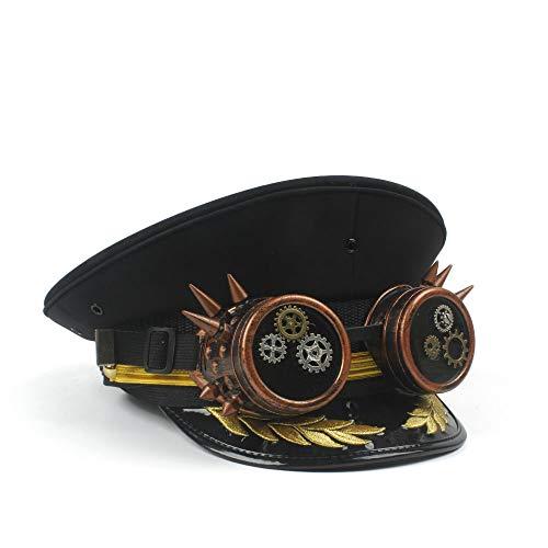 Xinanlongjb Mit Schutzbrillen Festival Kapitän Hut für Männer Frauen Steampunk Burner Hut Hand Made Cap Sergeant Burning Man Hut PSY Trance Sci Fi Cosplay Militärhüte