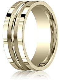 18ct Yellow Gold, 8mm Comfort Satin High Center Cut Squared Band (sz H to Z5)
