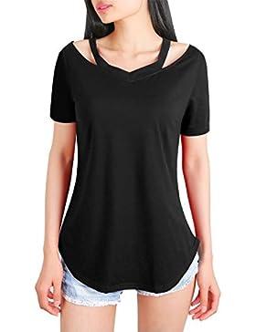 [Patrocinado]DSUK Mujer Camisetas de Manga Corta Para Cuello EN V Frío Túnica Suelta Tops Casual Cómoda Blusa
