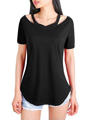 T shirt donna cotone,dsuk casuale camicetta senza spalline t shirt cinghietti autunno comfort modello solido tunica allentato moda t-shirt traspirante di base camicie estensibili nero xl