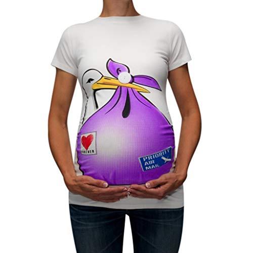 Mambain maglietta premaman divertenti t shirt premaman donna cicogna eleganti manica corta stampa del fumetto cuore girocollo casual top maglia camicetta (m, viola)