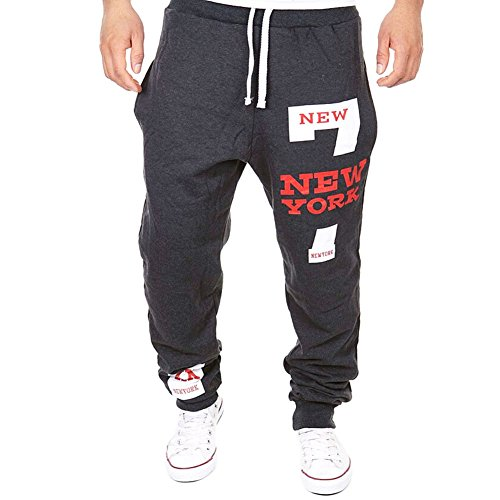 De feuilles Herren Casual Hose Lang Winter Fitness Loose Crotch Hose Hiphop Dance Jogger Sweatpants Baggy (XXL, dunkelgrau)