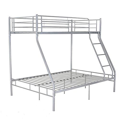 Etagenbett Mit Unter Platz (Metallrahmen-Etagenbett, Einzel-, Doppel-, Dreifach-Bett, Schlafzimmermöbel für Kinder und Erwachsene Klassisch Silberfarben)