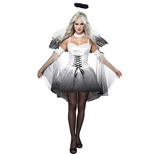 Bdclr Lady Halloween, Sexy, Cosplay Dark Angel Kostüm, Spieluniform Geisterbraut,White,M (Saint Angel Kostüm)