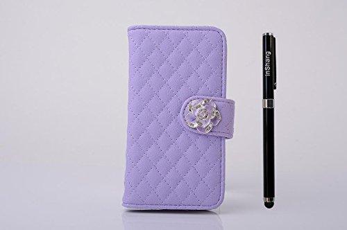 """inShang Hülle für Apple iPhone 6 Plus iPhone 6S Plus 5.5 inch iPhone 6+ iPhone 6S+ iPhone6 5.5"""", Cover Mit Modisch Klickschnalle + Errichten-in der Tasche + GRID PATTERN, Edles PU Leder Tasche Skins E camellia purple"""