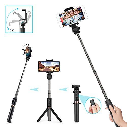 CHEREEKI Palo Selfie Trípode con Sontrol Remoto, 3 en 1 Mini Bolsillo Extensible Monopod Inalámbrico Bluetooth Selfie Stick