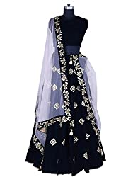 Fabcartz Blue color Embroidered Silk Lehenga choli with Lace border Dupatta (Black)