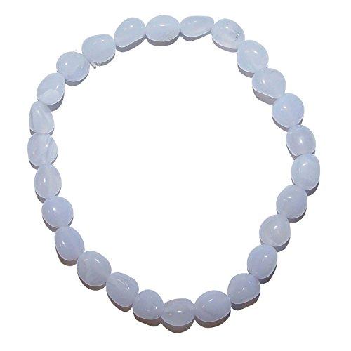 Chalcedon Armband aus polierten kleinen Edelsteinen ca. 5 - 8 mm , auf elastischem Band, schöne hellblaue Farbe.(3574)