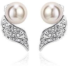 J&F - Orecchini da donna con perla e cristalli Swarovski Crystal