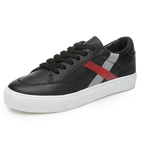 WZG La nouvelle impression artificielle chaussures printemps PU chaussures de sport pour aider les chaussures basses avec des chaussures à lacets plats Black