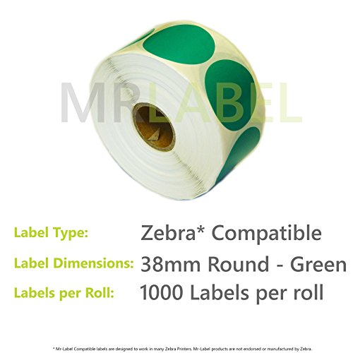 Affordable 50000x Zebra Compatible Coloured Thermal Labels (50 Rolls of 1000) 38mm Round – Green on Line